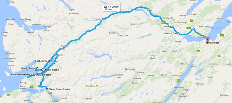map of Plockton to Inverness