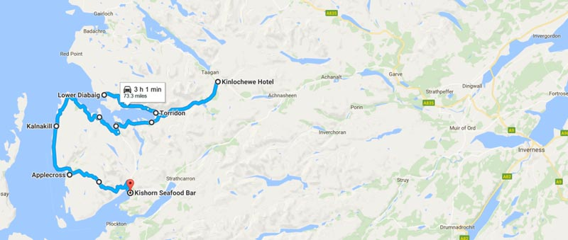 map of Scotland from Kinlochewe to Applecross