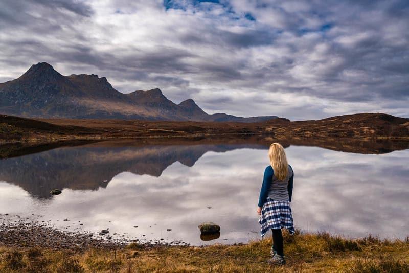 lake reflection on drive to smoo scotland