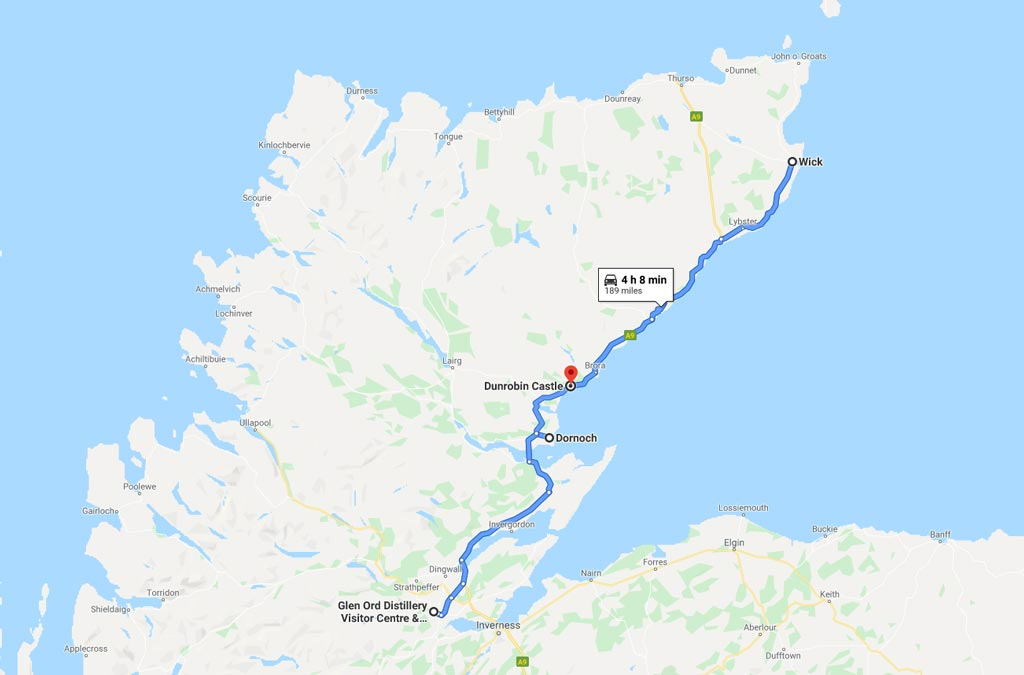NC 500 Map Dornoch to Wick