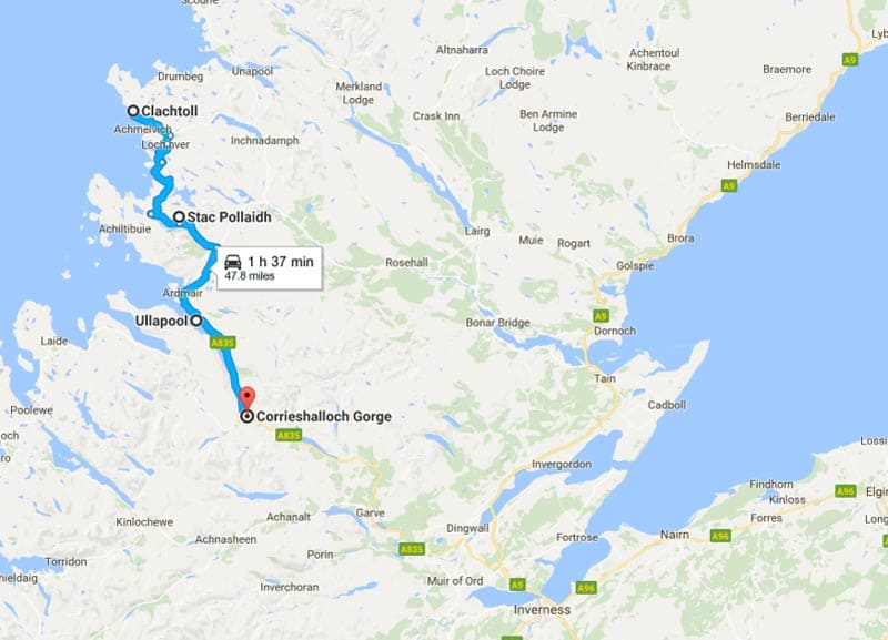 Lochinver to Ullapool Map Scotland