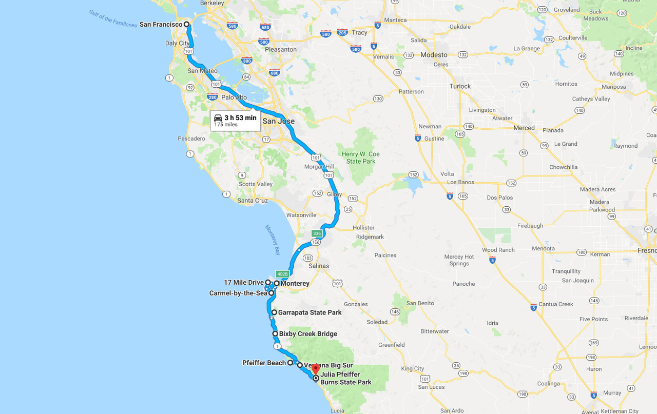california road trip map san francisco to Big Sur
