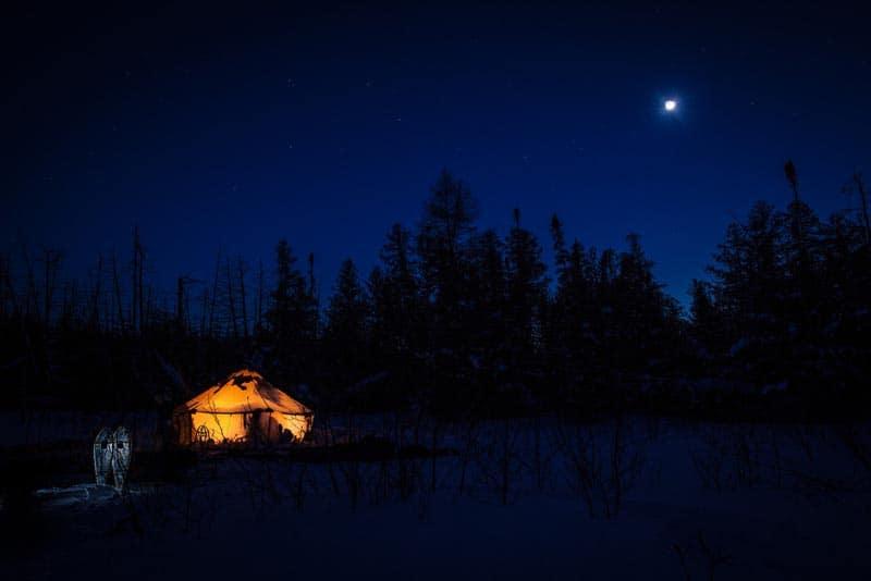 Ontario Canada campsite in winter