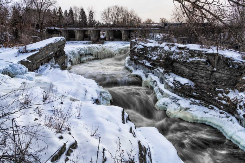 Ottawa Attractions in winter hogs back falls
