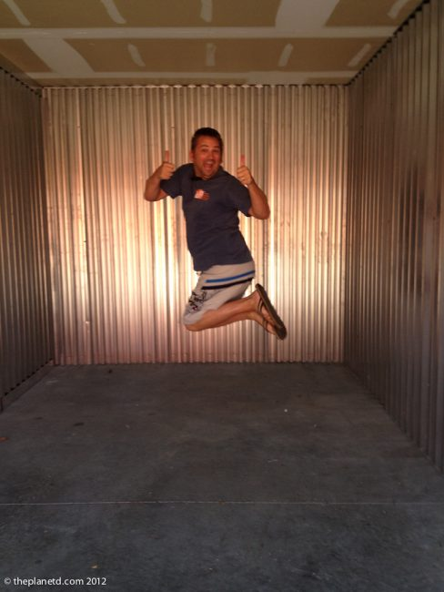 Travel Blogger Dave in our storage locker
