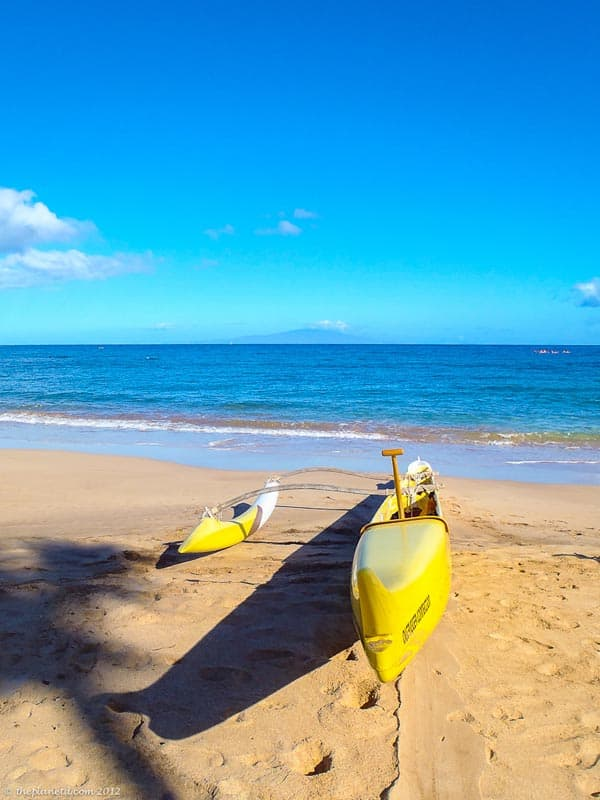 outrigger canoe on maui beach