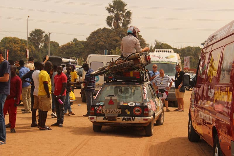 rally to africa team in beat up car