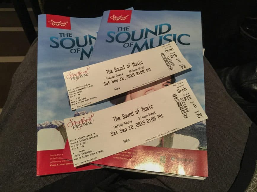 Our Stratford Festival tickets were ready and waiting when we arrived