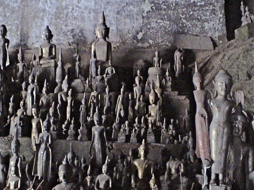 thousands of buddhas at the pac ou caves of laos