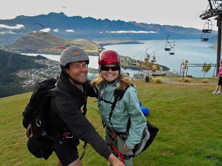 paragliding Queenstown Deb prepares