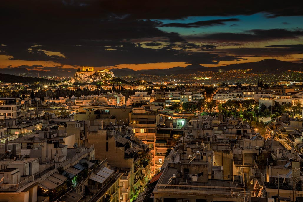 athens greece at night view of acropolis