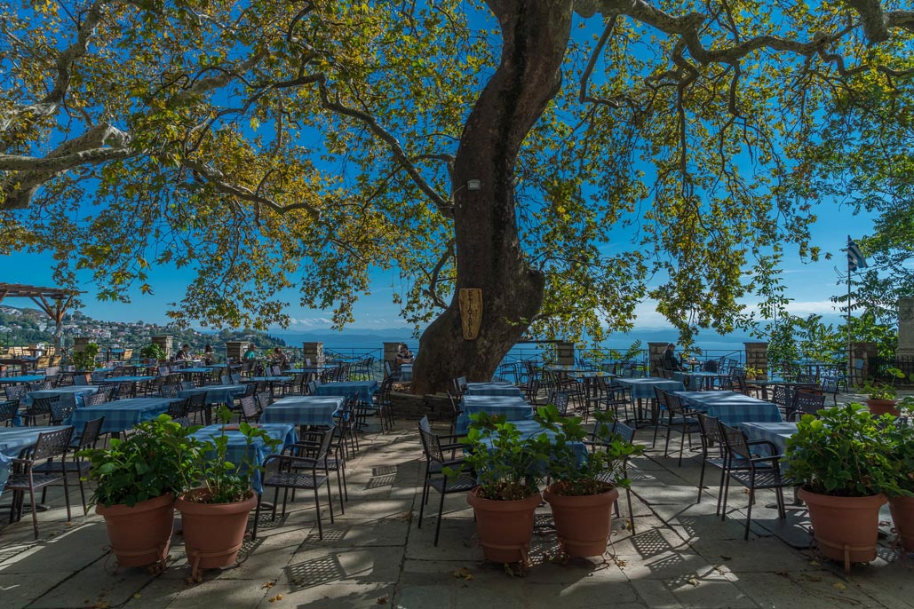 A beautiful square in Pelion with ancient tree