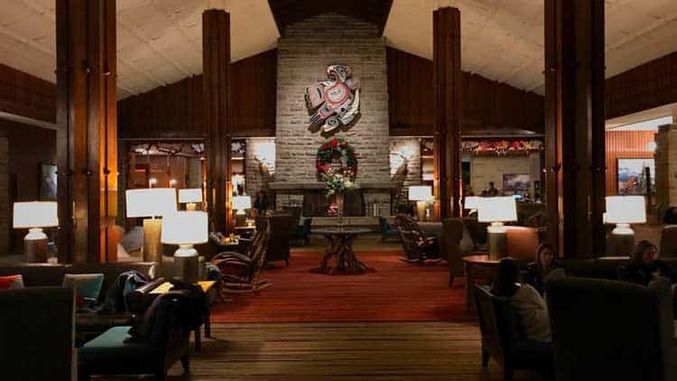interior of jasper mountain lodge reception
