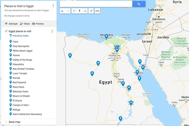 map of egypt places to visit