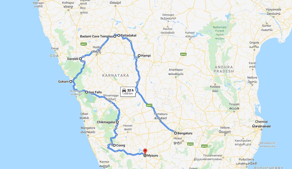 Karnataka India Map of Places to Visit