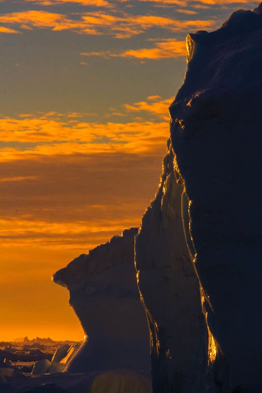 polar expedition sunset