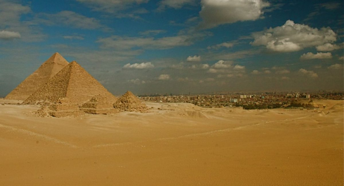 Pyramids of Giza and Desert of Egypt