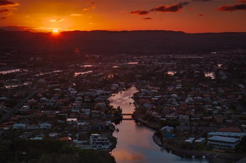 city sunset queensland
