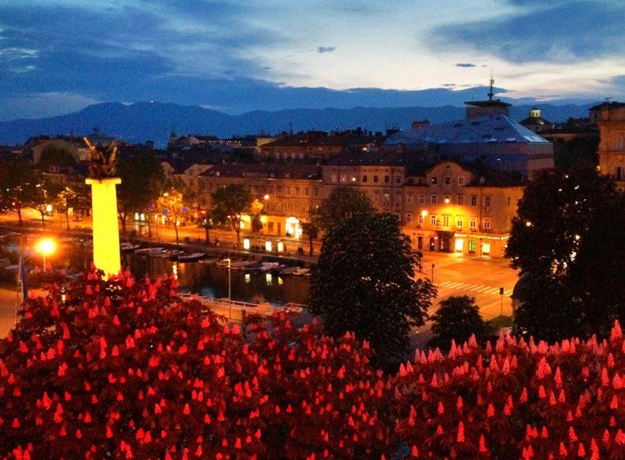 twilight in city of Rijeka croatia