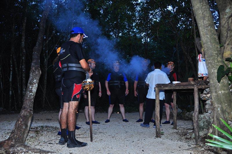 smoking ceremony at start of rio secreto tour