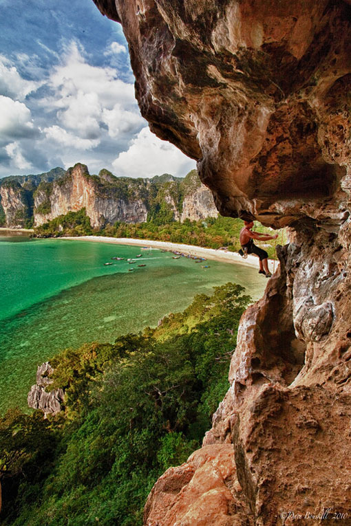 rock climbing in railay ocean