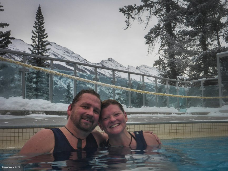 Relaxing in the Banff hot springs.