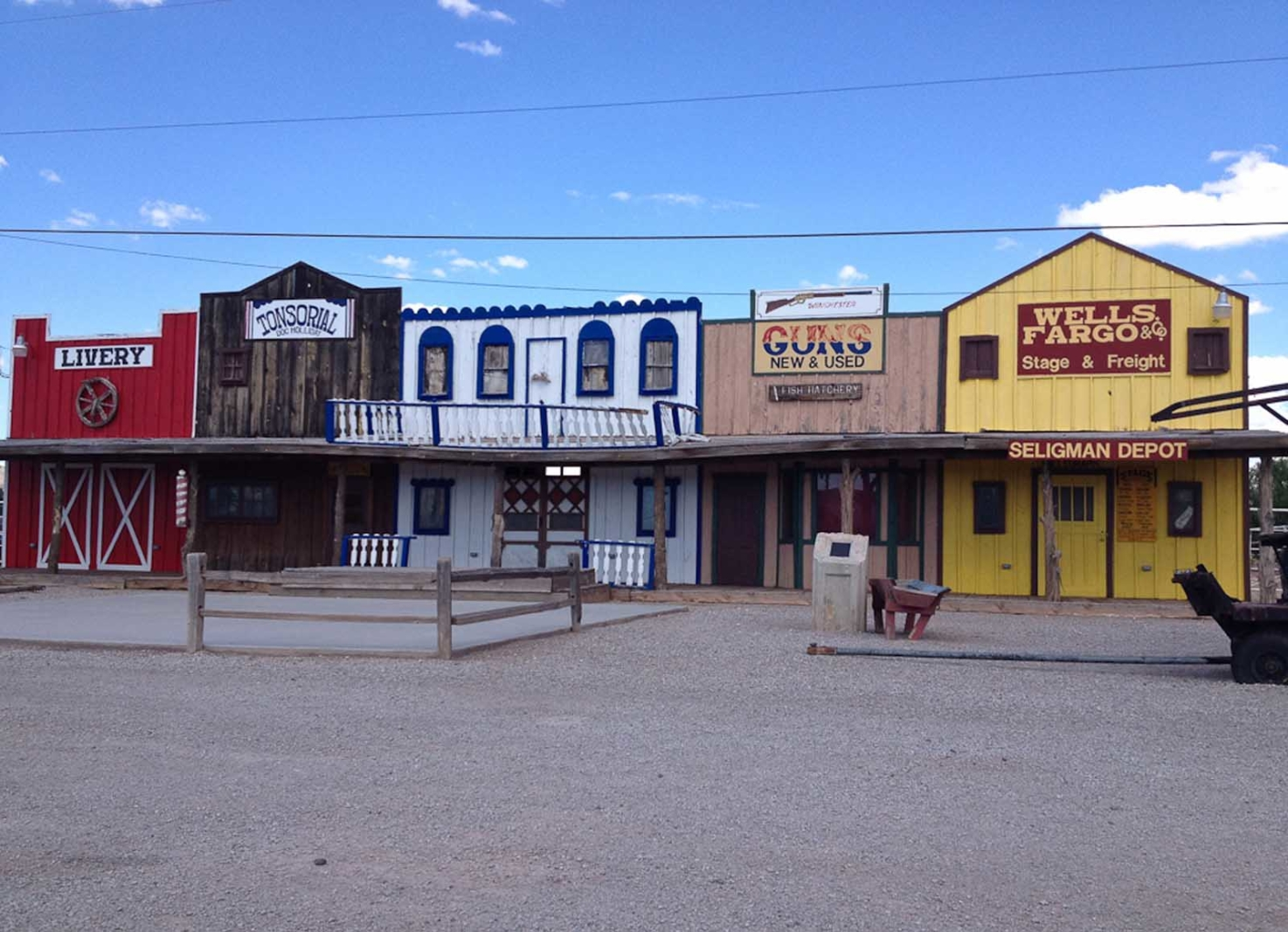wells fargo and old town facades in arizona