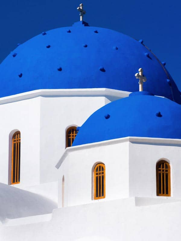 santorini greece blue roofs