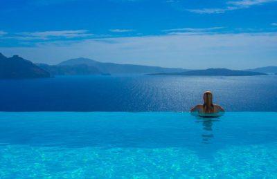 santorini greece infinity pool