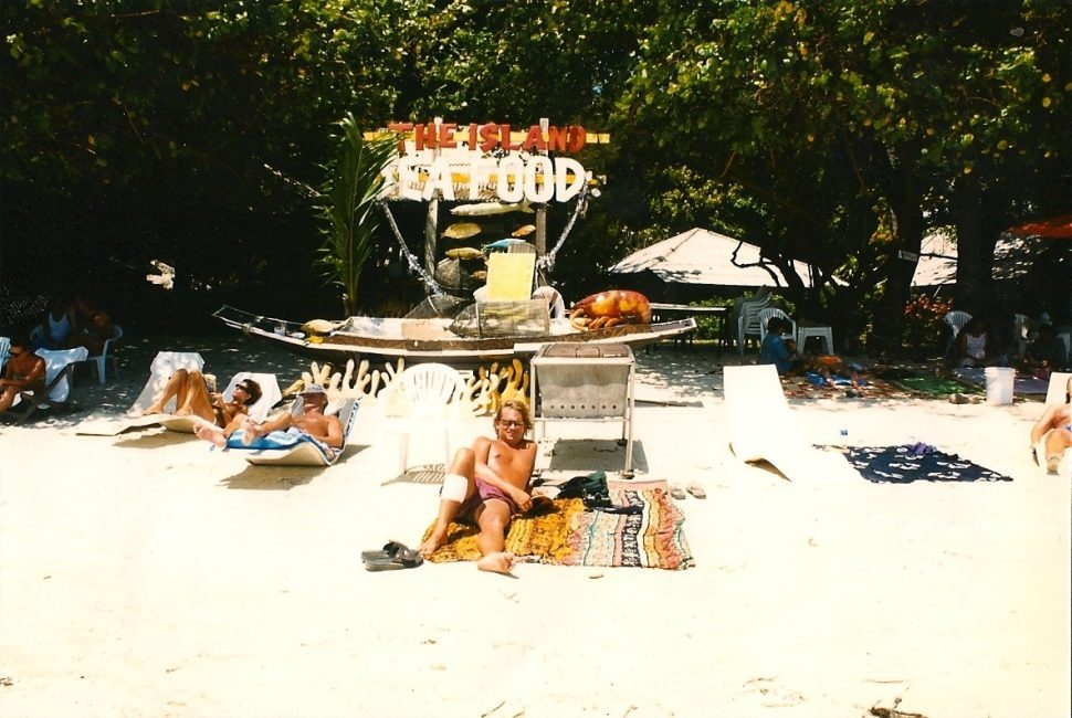 Sarong used as beach towel