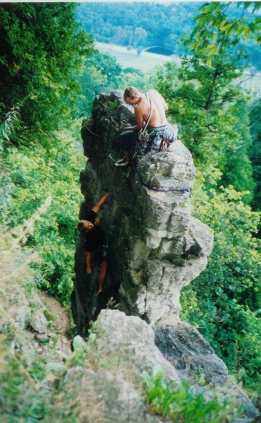 Rock climbing with friends