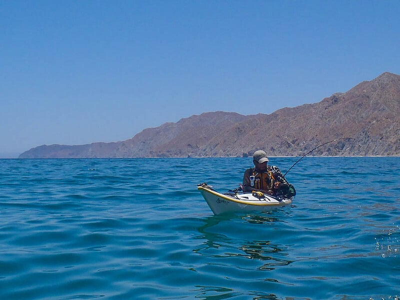sea kayaking Baja Mexico Dave fishing