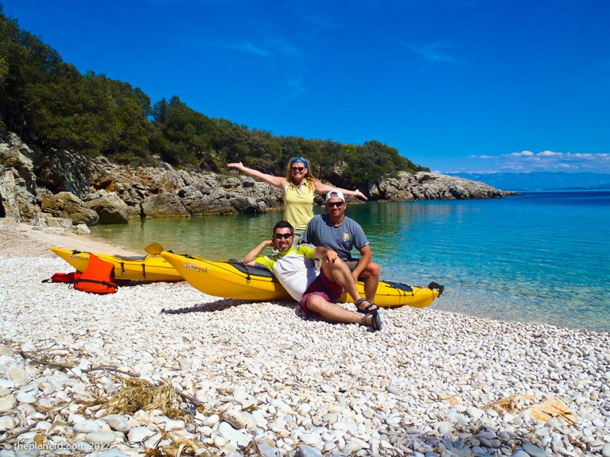 our guide on our couples adventure kayaking in Croatia