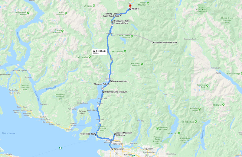 Sea to Sky Highway Route Map
