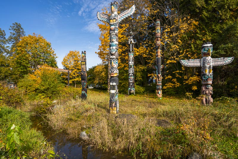 Stanley Park totem Poles in Vancouver British Colombia