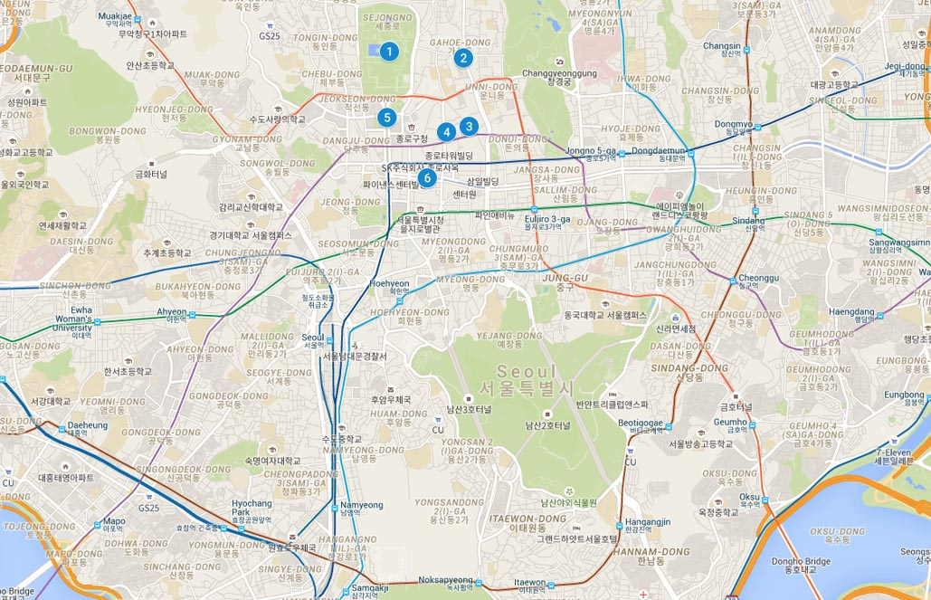 Seoul itinerary 3 days map
