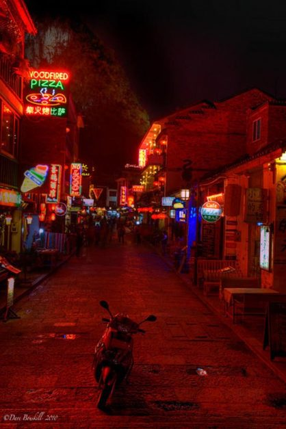 china at night motorcycle parked