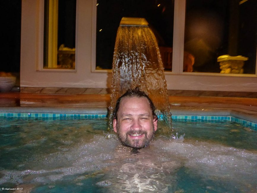 Dave enjoys the Water Spa at Sir sam's