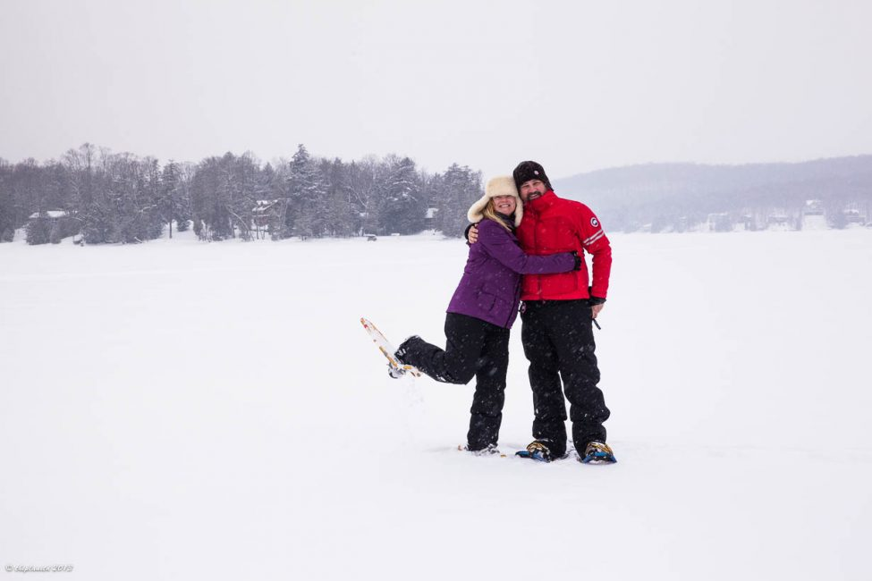 Having a blast Snowshoeing on Eagle Lake.