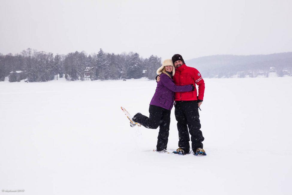 Having a blast Snowshoeing on Eagle Lake.
