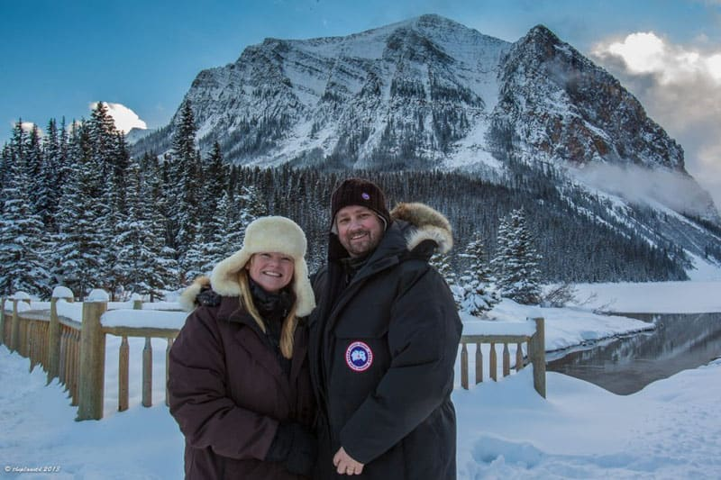 skating lake louise couple