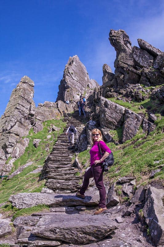 climbing the steps to skellig michael