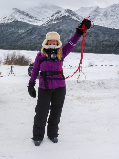 Deb preps for her day of Skijoring on Spray Lake, Alberta
