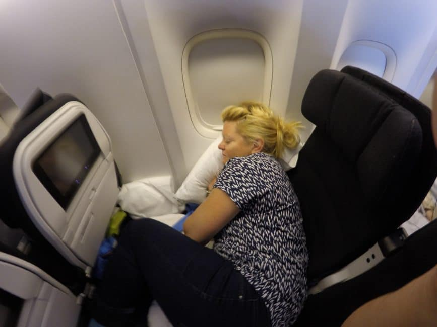 Getting cozy on flight to Australia with Air New Zealand in Skycouch
