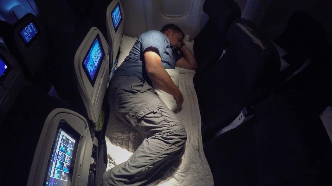 Skycouch sleeping position on Air New Zealand