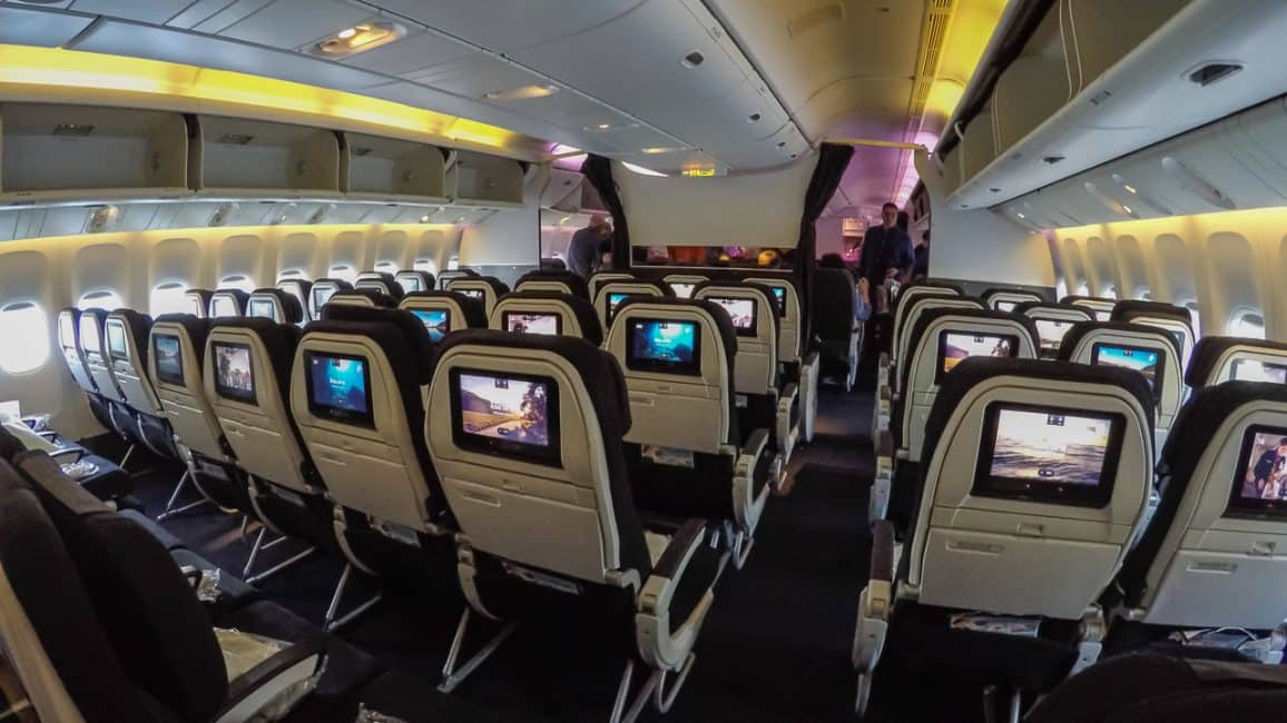 Skycouch cabin on air new zealand