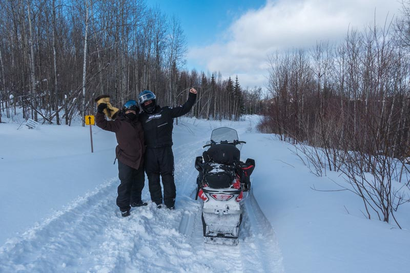 dave and deb snowmobiling quebec