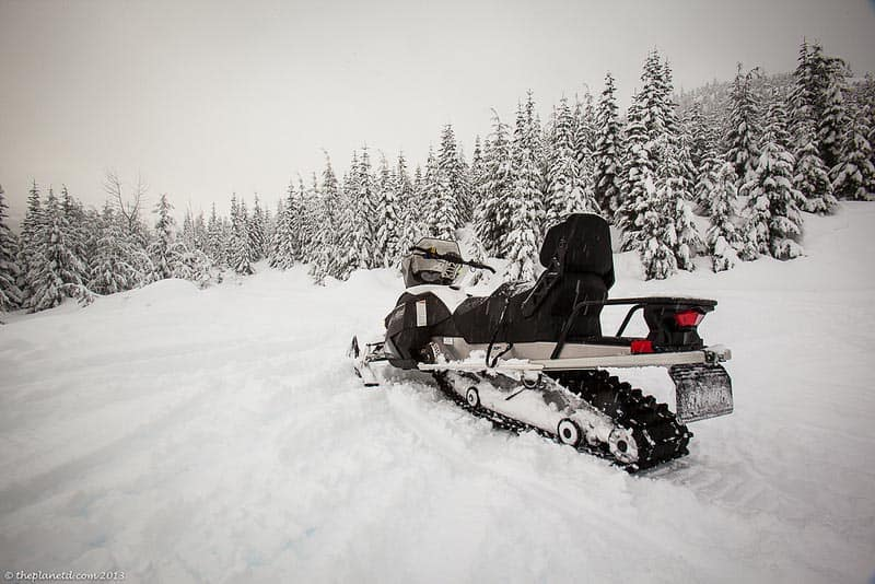 Lone snowmobile in Whistler BC