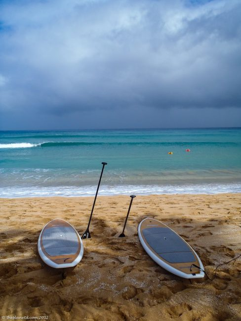 stand up paddle boards on beach