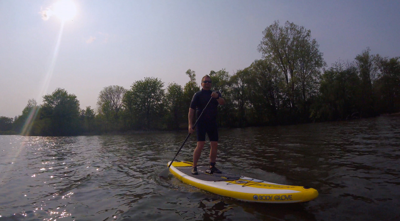 dave on stand up paddleboard
